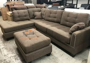 Brand New Coffee Color Linen Sectional Sofa Couch + Ottoman for Sale in Arlington, VA