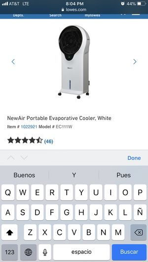 NewAir Portable Evaporative Cooler for Sale in Los Angeles, CA