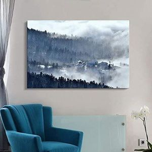 Photo ((FREE SHIPPING)) Canvas wall art - snow covered quiet village in the forest modern home decor Painting like print