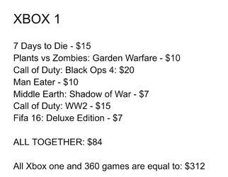 XBOX One and XBOX 360 Games Thumbnail