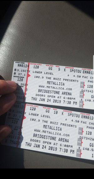 Metallica LOWER LEVEL for Sale in Nashville, TN