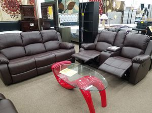 Brand new 3-piece sofa loveseat chair recliner set with beverage holder for Sale in Silver Spring, MD