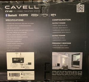 Cavelli cv-60 Home theatre system for Sale in San Francisco, CA