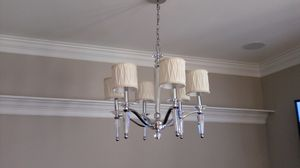 Crystal light fixture with 6 lights & cream shades for Sale in Rockville, MD