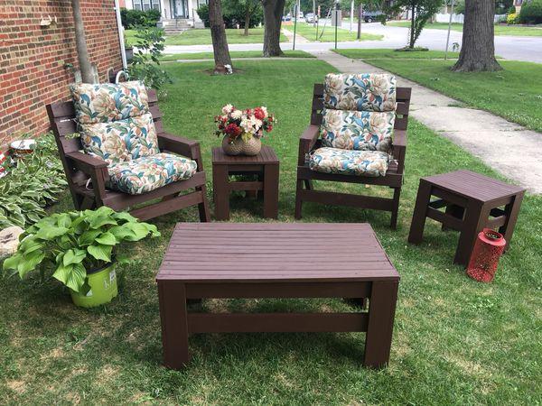 7 piece outdoor garden patio furniture set Home Garden in Blue