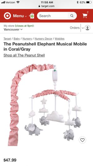 Photo The Peanutshell Elephant Musical Baby Mobile in Coral/Gray