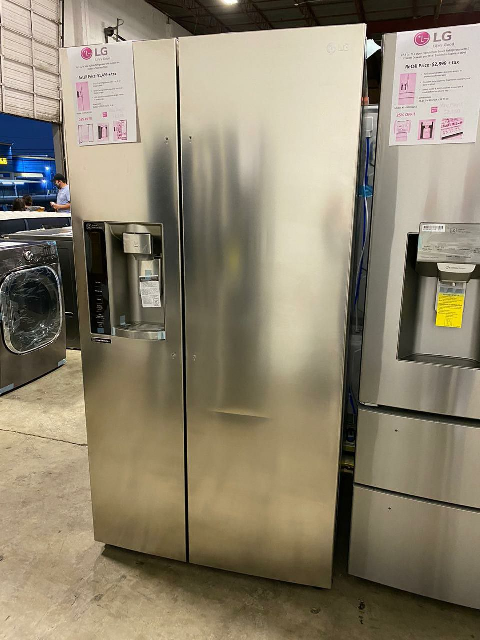 LG SIDE BY SIDE WITH IN DOOR ICE MAKER STAINLESS STEEL REFRIGERATOR LSXS26326S