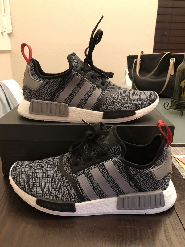 size 40 618f7 21fc7 Men s ADIDAS NMD R1 Glitch Camo BB2884 Core Black   Grey   Red Size 12 Used  w  Box
