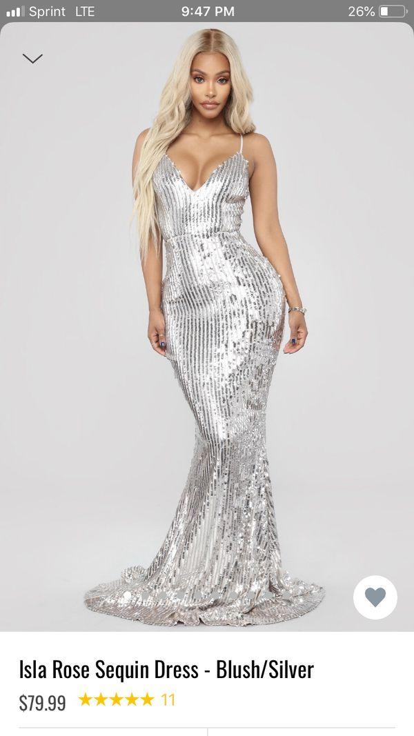 6c7db328782d0 Fashion Nova Isla Rose Sequin Dress - Silver/Blush Sz M for Sale in ...