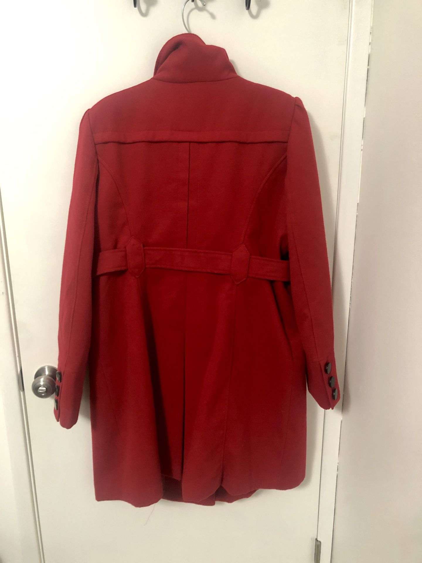 Red dress pea coat - like new!