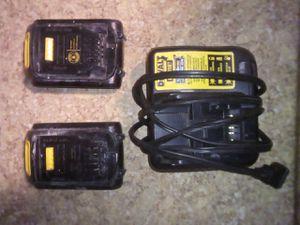 Photo DEWALT 20-Volt MAX Lithium-Ion Premium Battery Pack 3.0Ah (2-Pack) & Charger