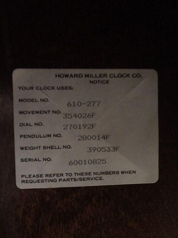Howard Miller Grandfather Clock - Model 610-277 - $375 (Forest Grove)