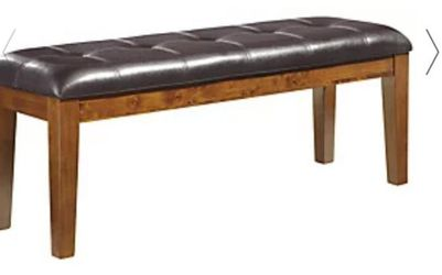 Dinnig Table With 4 Chairs And Bench Dark Chocolate  Bench Has Small  Tear On One  Thumbnail