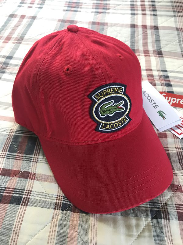 079de90754e Supreme x Lacoste Twill 6 Panel Hat Red DS SS18 for Sale in Los Alamitos