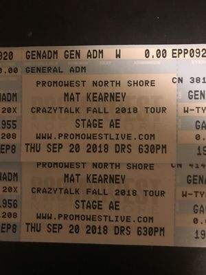 2 Mat Kearney Tickets for Sale in Pittsburgh, PA