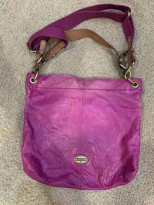 Photo Fossil pink leather handbag purse
