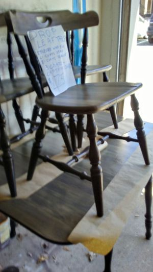grey stressed wood drop leaf table w 3 chairs and captains chair refinished /black legs and spindels for sale  Tulsa, OK