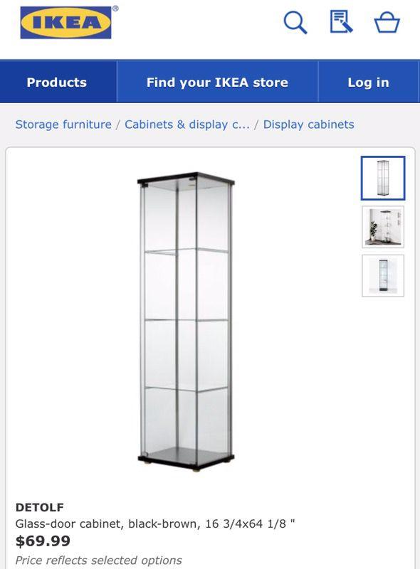 Detolf Glass Door Cabinet Black Brown 16 34x64 18 For Sale In