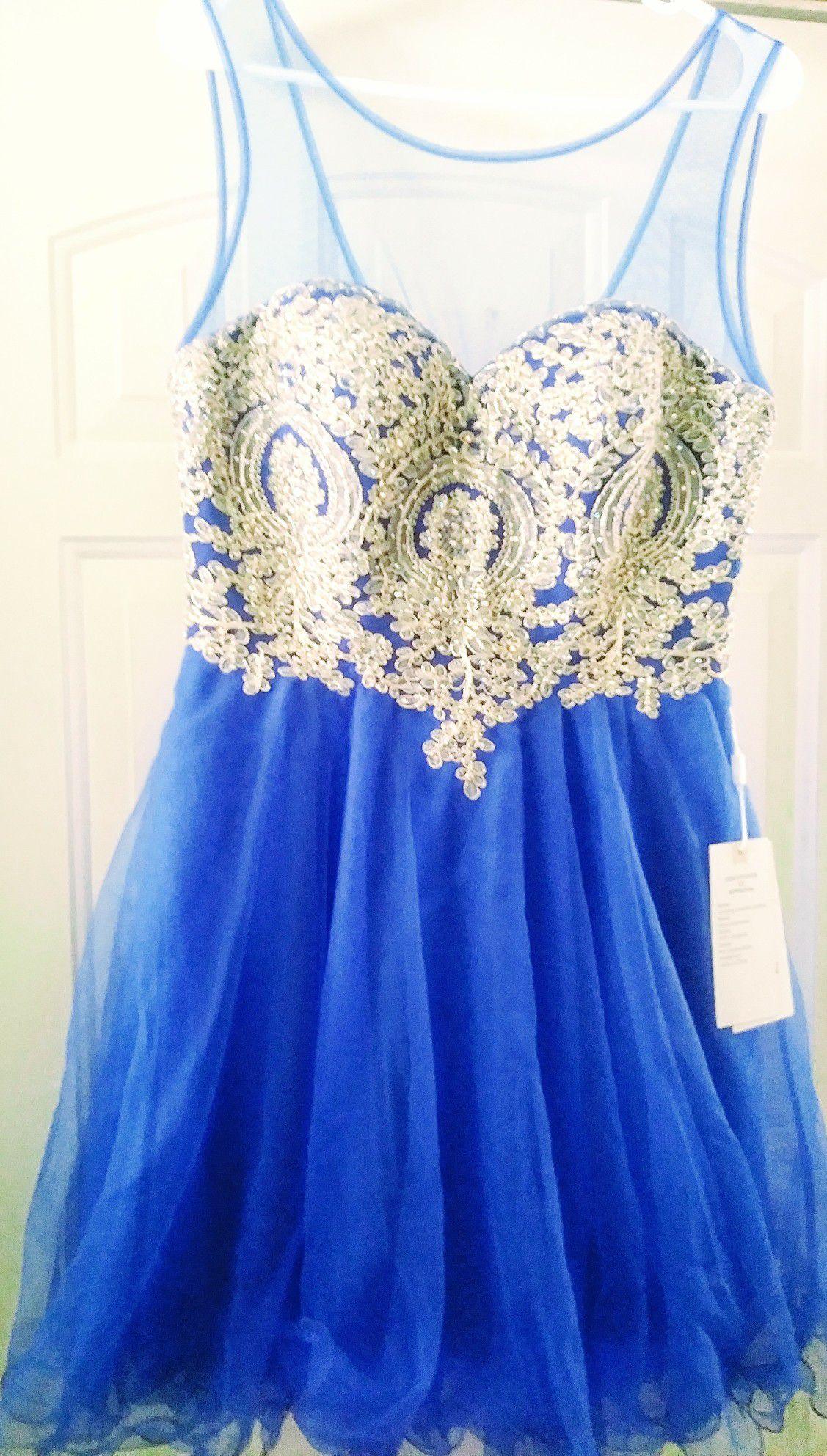 Royal blue & Gold formal dress