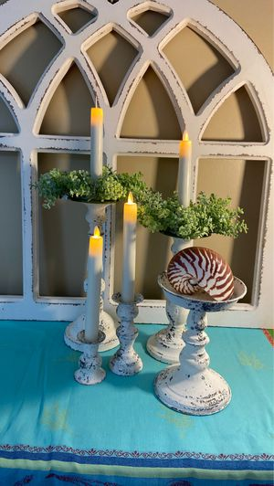 Photo 4 CANDLE HOLDERS, 2 CANDLE RINGS & 1 TIGER NAUTILUS SPECIMEN SHELL