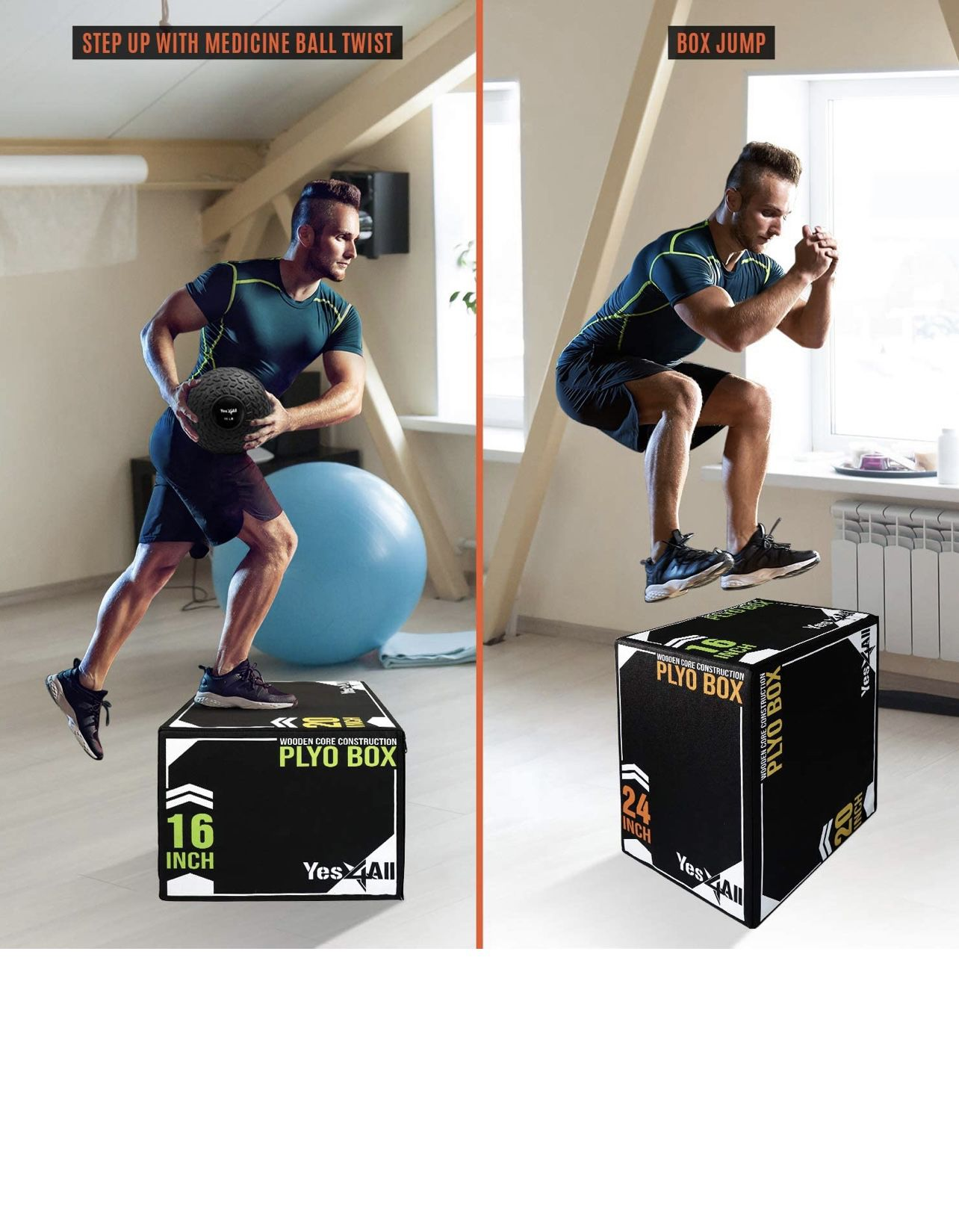 Soft Plyo Box With Wood Core 24/20/16  STURDY AND STABLE