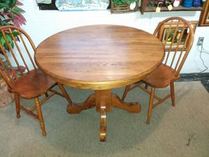 3 Pc Solid Oak Dining Table 2 Chairs For Sale In Springfield MO