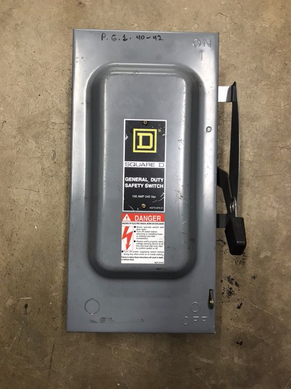 100 Amp Disconnect >> Square D 100 Amp Disconnect Panel Single Phase For Sale In San Diego