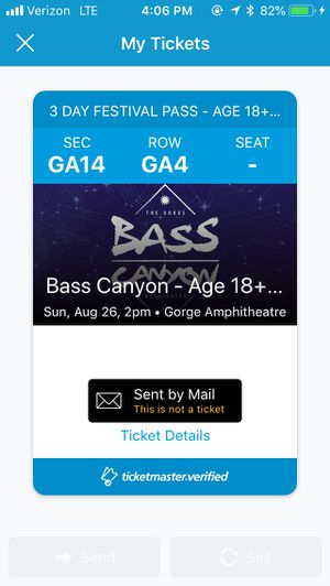 BASS CANYON TICKET for Sale in Tacoma, WA