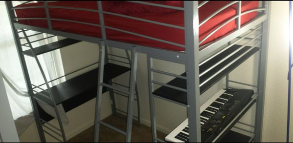 Used Dhp Studio Loft Bunk Bed Over Desk And Bookcase With Metal Frame Twin Black Gray For In Port St Lucie Fl Offerup