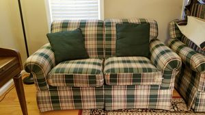 Plaid loveseat with matching sofa and throw pillows. $100 obo. for Sale in Springfield, VA