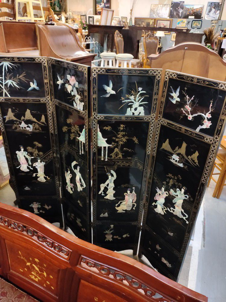 Vintage Asian Black Lacquer, Mother Of Pearl, And Jade Screen/Room Divider.