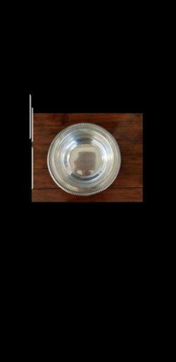 "Vintage Silver Large Round Bowl. D 11"". Thumbnail"