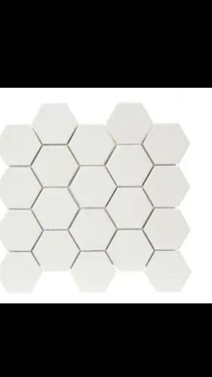 Photo Large White 12-in x 12-in Porcelain Hexagon Wall Tile