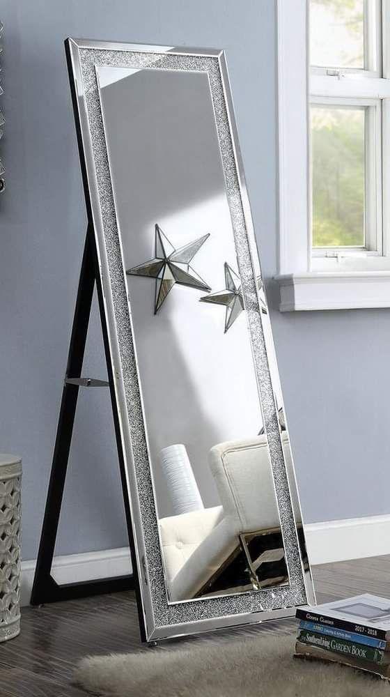 GLAM BLING Silver Floor FULL LENGTH VANITY DRESSING ROOM Mirror with Faux Stones Inlay / ESPEJO