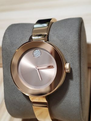 Photo MOVADO BOLD Women Watch Bangle Stainless Steel Rose Gold With Swarovski Crystal 3600202