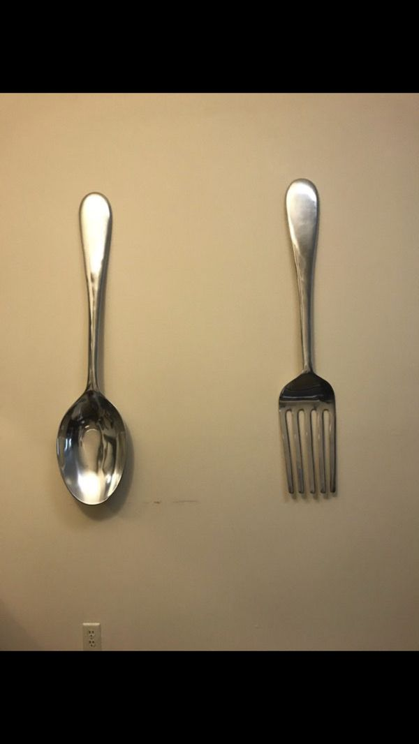 Large Silver fork and spoon wall decor / kitchen / dining room ...