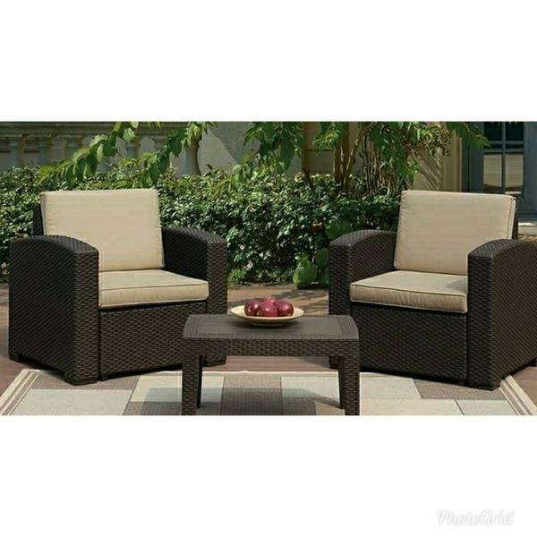 New Patio Furniture Set Tail Table And 2 Arm Chairs For In Ontario Ca Offerup