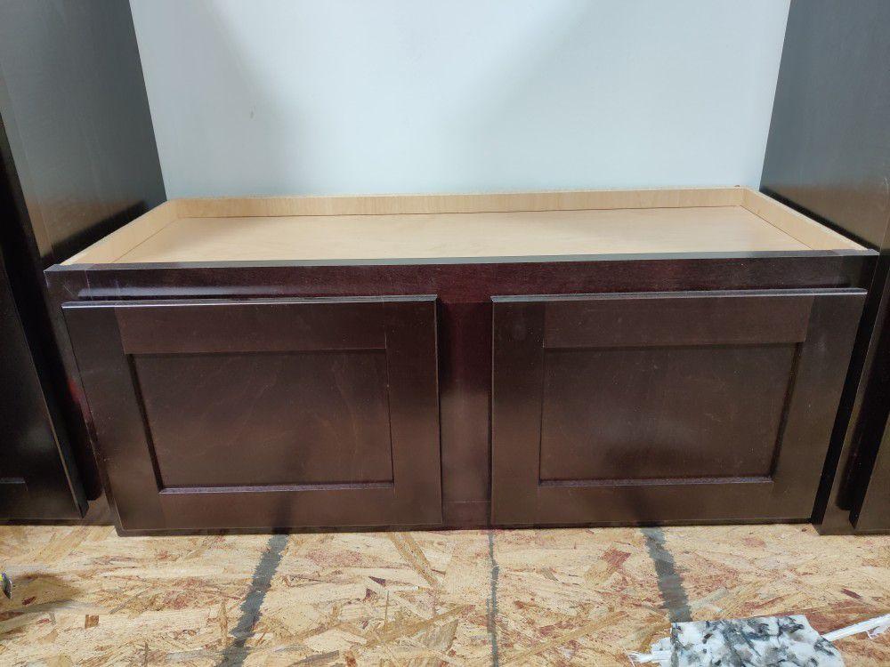 Brown Upper Kitchen Cabinet (Height: 12, Width: 30, Depth: 13)