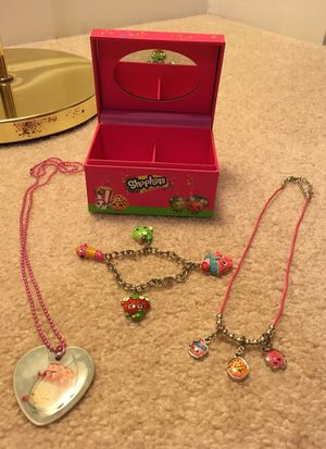 Shopkins jewelry box with 2 necklaces and charm bracelet for Sale in Alexandria, VA
