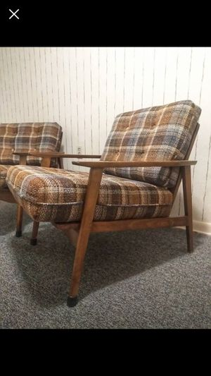 Mcm mid century chair chairs sofa set living room plaid danish unupholstered for Sale in Cleveland, OH