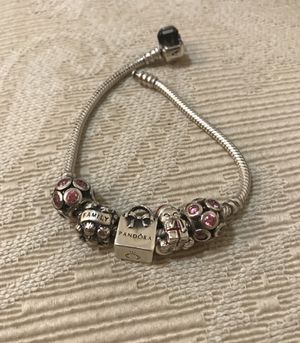 """Authentic Pandora 7,9"""" bracelet with charms for Sale in Silver Spring, MD"""