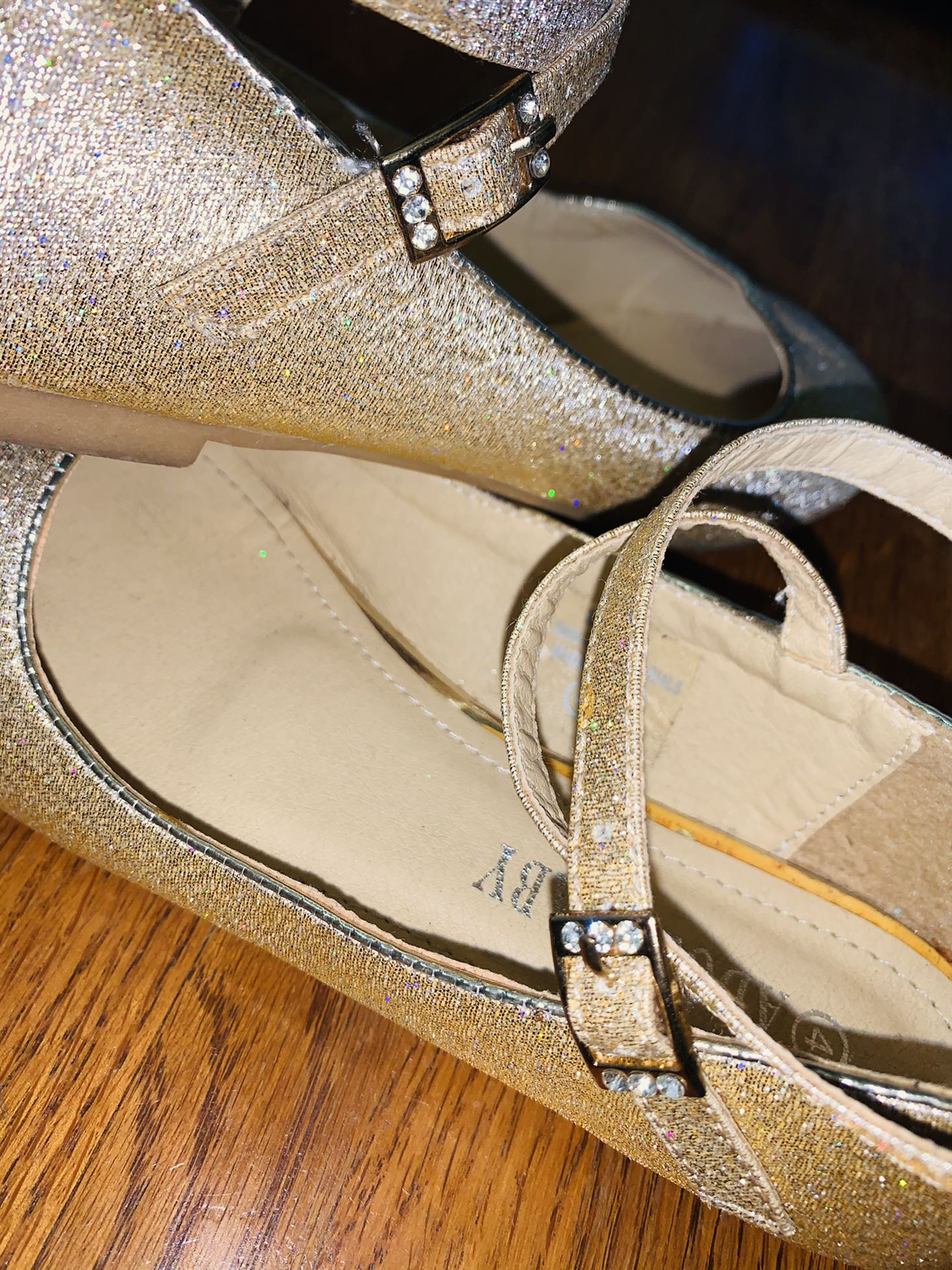 Girl's Size 4 Adorababy Gold Ankle Strap Shoes