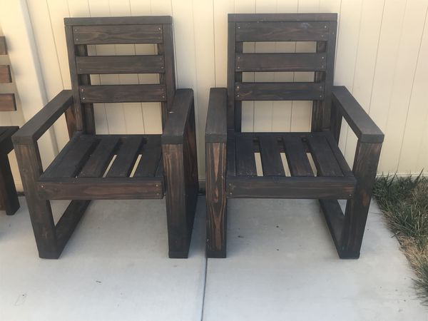 two solid wood chairs for sale in wildomar ca offerup