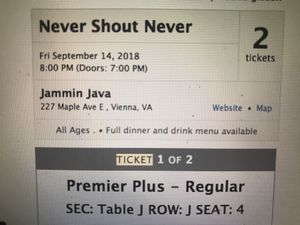 2 premier concert tickets to the throw back NeverShoutNever tour! for Sale in Vienna, VA