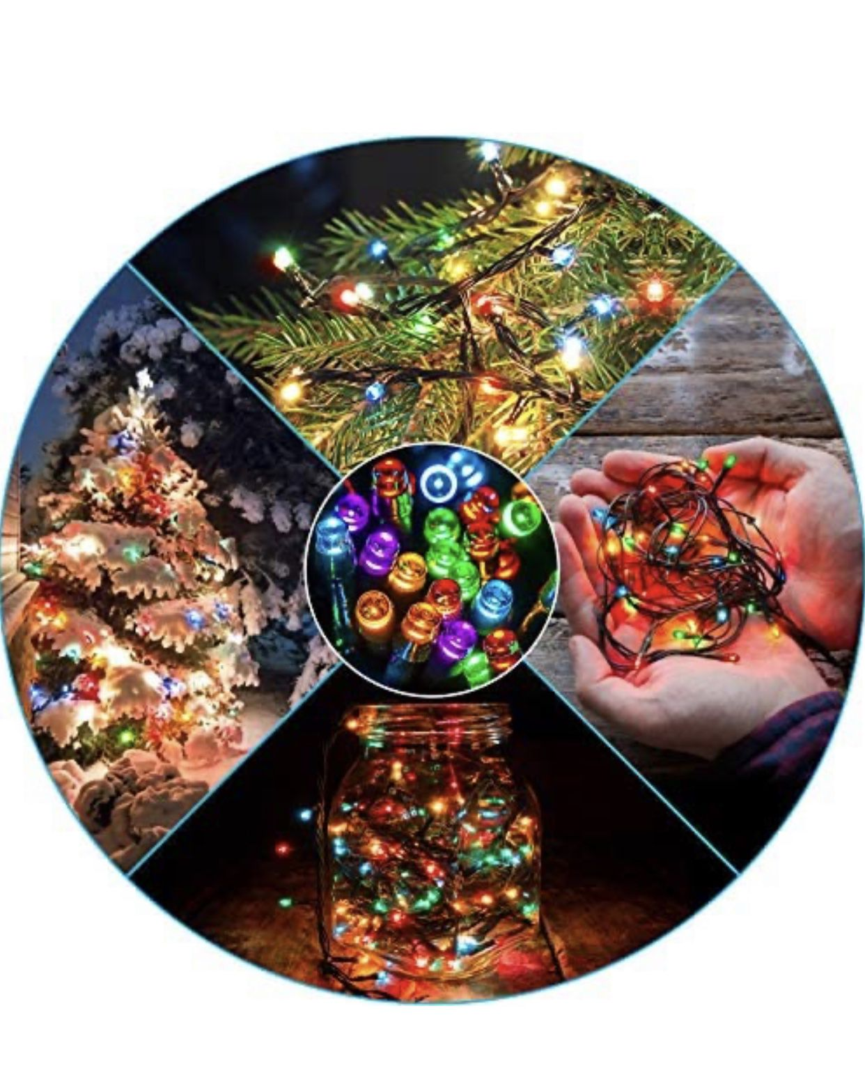 Waterproof LED Outdoor Christmas String Lights, LED UL Certified 8 Modes with End-to-End Plug, Indoor & Outside Fairy Light for Christmas Tree, Patio,