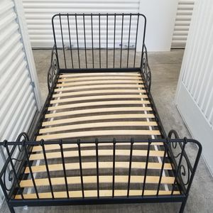 Photo Ikea MINNEN kids Extendable bed frame 903.042.43 with slatted bed base, black, 38 1/4 x 74 3/4