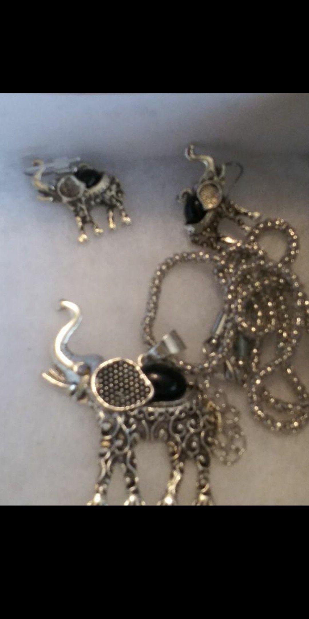 Elephant pendant and earrings