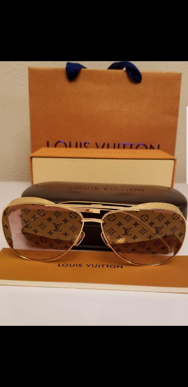 49a70c7e54 Authentic Louis Vuitton Las Vegas Parano Z1054E Monogram Lens Gold Studded  Sunglasses