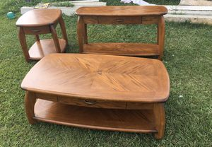 Photo Oak 4 piece table set. 4th piece not in picture.