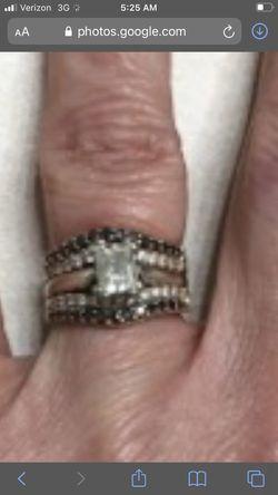 Two karat white and black diamond wedd set rose and white gold Thumbnail